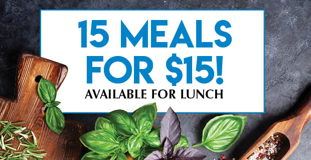 15 lunches for $15 each!