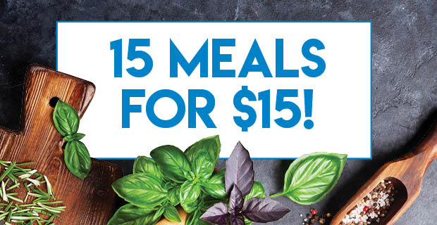 15 meals for $15 each!